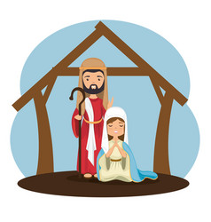 Holy family religious card vector