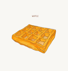 Square water color pain waffle sketch vector
