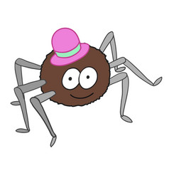 Cartoon cute spider in hat isolated on white vector