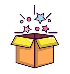 magic box with stars icon cartoon style vector image