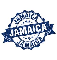 Jamaica round ribbon seal vector
