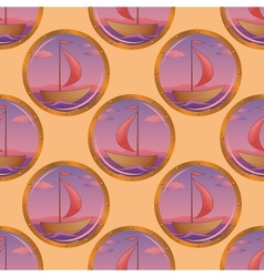 Seamless background portholes and ships vector image