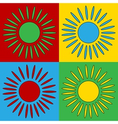 Pop art sun icons vector