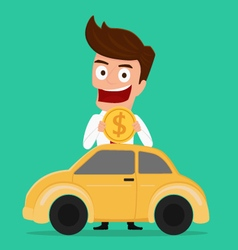 Businessman putting coin inside the car vector