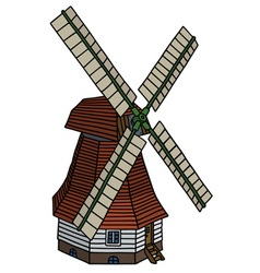 Classic dutch windmill vector
