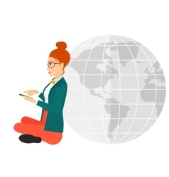 Woman sitting near globe vector