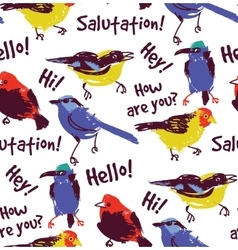 Bright birds greetings seamless pattern wallpaper vector