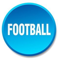 Football blue round flat isolated push button vector