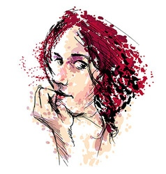 Colored hand drawing a womans head vector