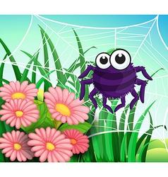 A spider web at the garden vector