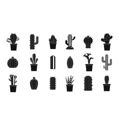 cactus icon set simple style vector image