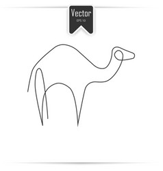 camel one line camel icon in linear style vector image vector image