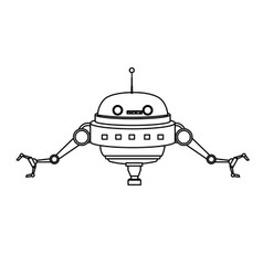 Cartoon robot technology futurist innovation icon vector