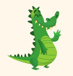 Cartoon shy crocodile smiling and waving vector