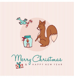christmas and new year forest animal cartoon card vector image