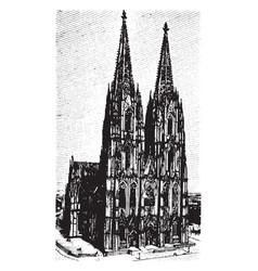 Cologne cathedral klner dom vintage engraving vector