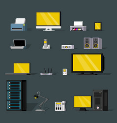 Colorful wireless technology objects set vector