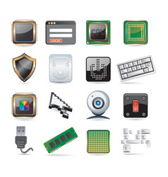 computer parts set vector image vector image