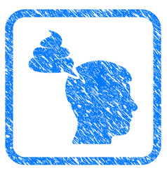 Crap thinking person framed grunge icon vector