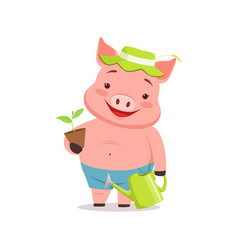 cute pig gardener standing with watering can and vector image vector image