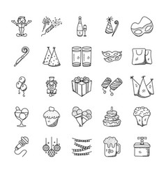 Doodle icons pack of celebration and party vector