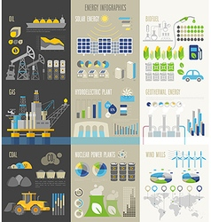 Energy and ecology Infographics with charts vector image vector image