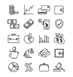Finance payments and money line icons set vector image