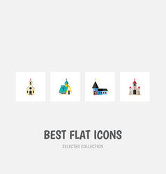 Flat icon church set of building traditional vector