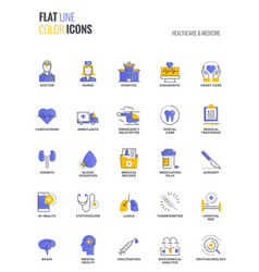flat line multicolor icons design-healthcare and vector image