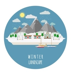Flat winter landscape with snow vector image vector image