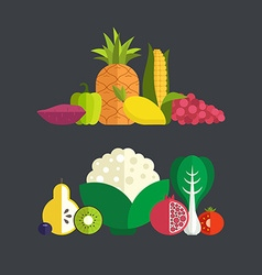 Fresh Vegetables and Fruits vector image vector image