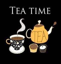 Graphic background with a teapot and cup of tea o vector image vector image