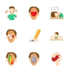 Human feelings icons set cartoon style vector