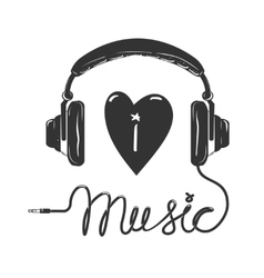 I love music headphones with text isolated on vector