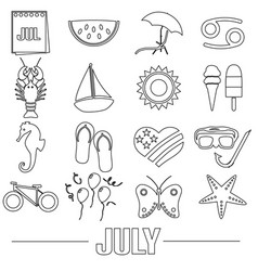 July month theme set of simple outline icons eps10 vector