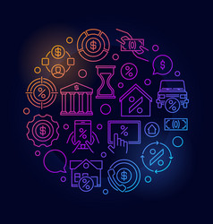 leasing round linear colorful vector image