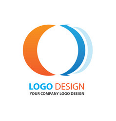 Logo circle design orange and blue color vector