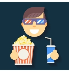 Male Guy Man Boy Character Cinema 3D Glasses Big vector image