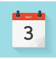 May 3 Calendar Flat Daily Icon vector image vector image