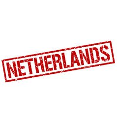 Netherlands red square stamp vector