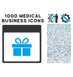 Present box calendar page icon with 1000 medical vector