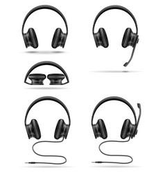 Realistic black headphones stock vector