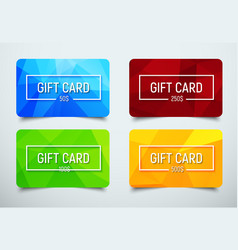 Set of gift cards with a polygonal abstract vector