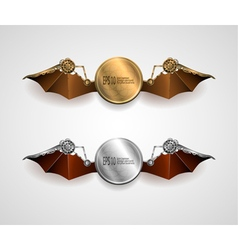 Set of industrial metallic banners with wings vector