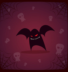 silhouette black bat and skull happy halloween vector image