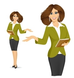 Smiling businesswoman showing something vector