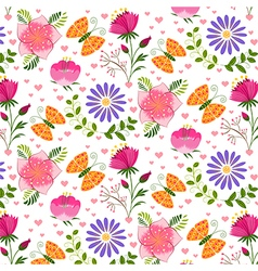 Springtime colorful flower and butterfly pattern vector
