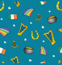 St patricks day hand drawn doodle set with vector