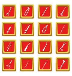 Surgeons tools icons set red vector