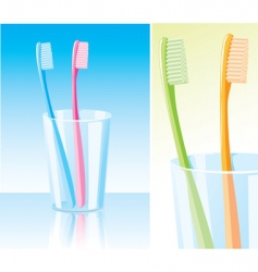 toothbrushes in the glass vector image vector image